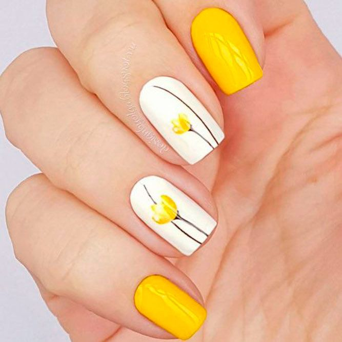 Yellow Tulips Nail Art #yellownails #flowersnails