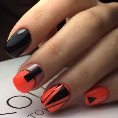 Bright Geometric Nail Design