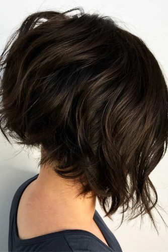 Short Inverted Layered Bob Cut #invertedbob #brownbob