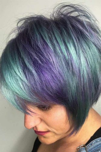 Short Layered Bob Haircut With Side Bangs #purplepixie #layeredpixie