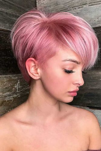 Long Layered Pixie Haircut #pixiecut #rosegoldpixie