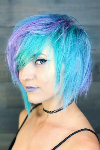Bright Blue And Purple Layered Bob #bluehair #bluebob