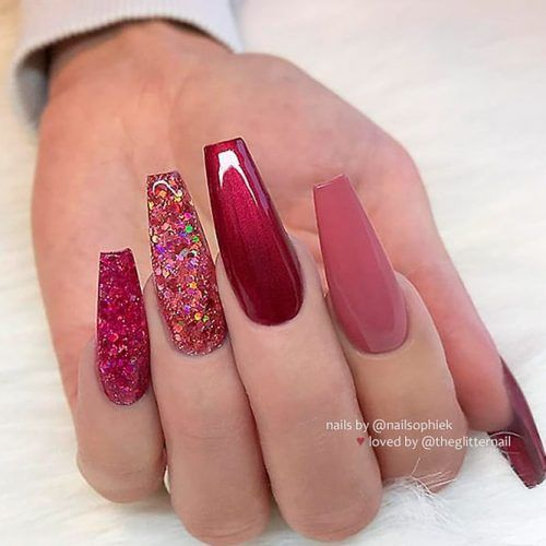 Long Burgundy Nails With Glitter #longnails #burgundynails
