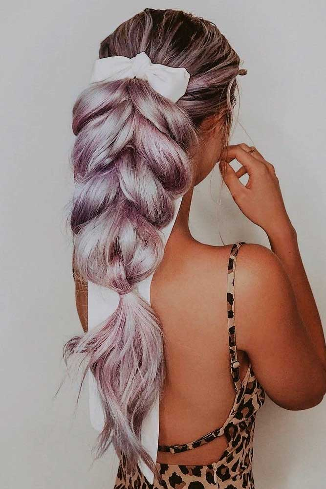 Cute Braid With Ribbon #braidedhairstyle #ribbonhair
