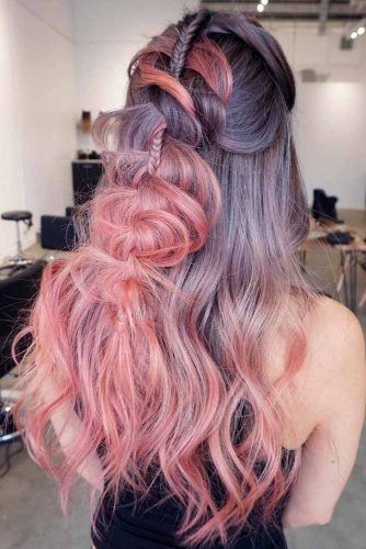 Braided Half-Up Hairstyles #ombrehair #braidedhair