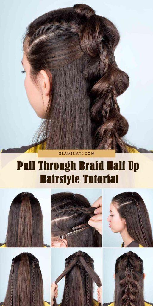 Pull Through Braid Half Up Tutorial #tutorials #easyhairstyles
