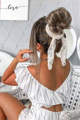 Top Knot With Bandana #trendyhairstyles #topknothair