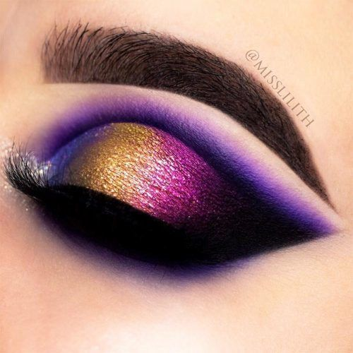 Blue, Gold And Purple Cut Crease Makeup Idea #cutcrease #smokey