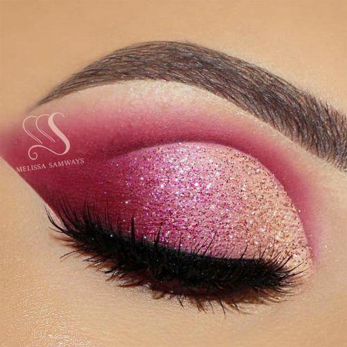 Pink Glitter Cut Crese Idea #gradient #glittershadow