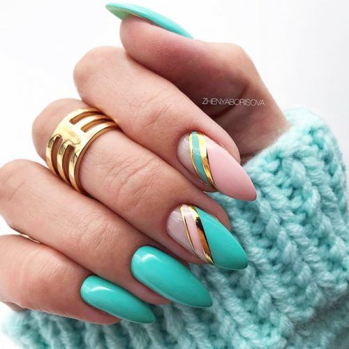 Blue Striped Nails Design #stripedaccent