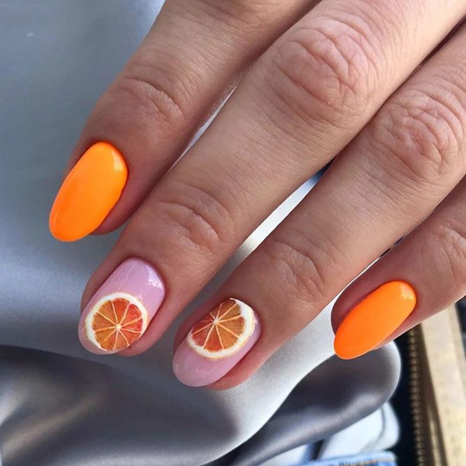 Summer Citrus Nails Design #orangedesign #citrusnails