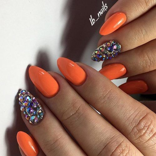 Fiery Summer Nail Designs #crystalsnaildesigns