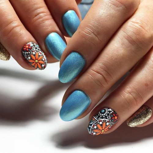 Mosaic Flowers Nails Design #mosaicnails