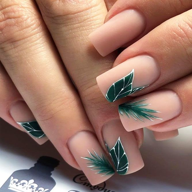 Nude Nails With Green Leaves Art #mattenails