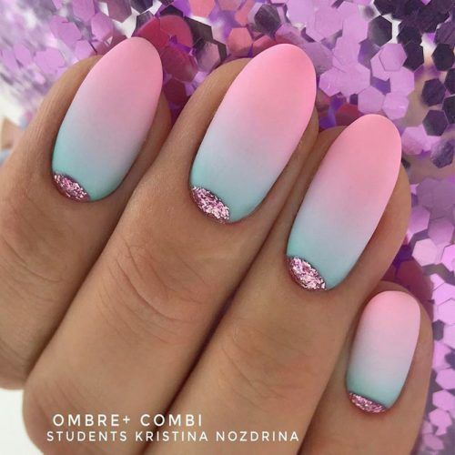 Matte Ombre Nails With Pink Glitter Moons #glittermoons