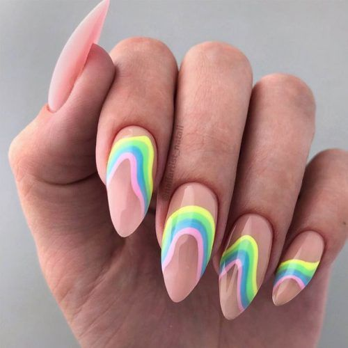 Rainbow Summer Nails Design #rainbownails