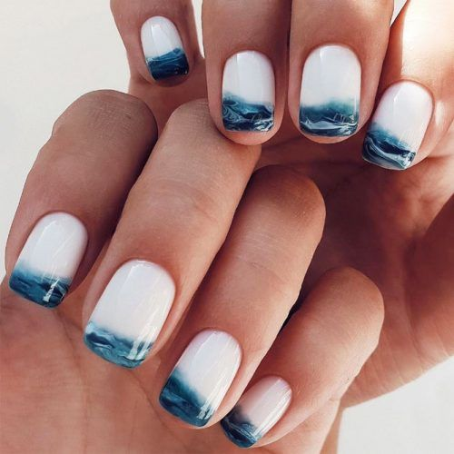 Sea Waves Nails Art Design #wavesnailsart #seanails
