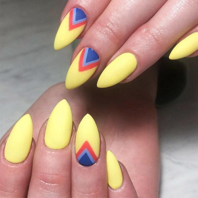 Summer Nails Desgn WIth Triangular Trifecta Art #geometricnails