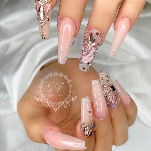 Nude Nails With 3-D Flowers #longnails #prettynails