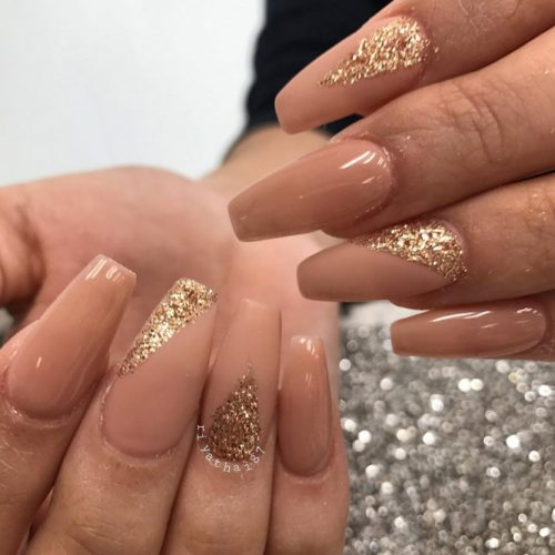 Nude Nail Designs with Glitter picture 1