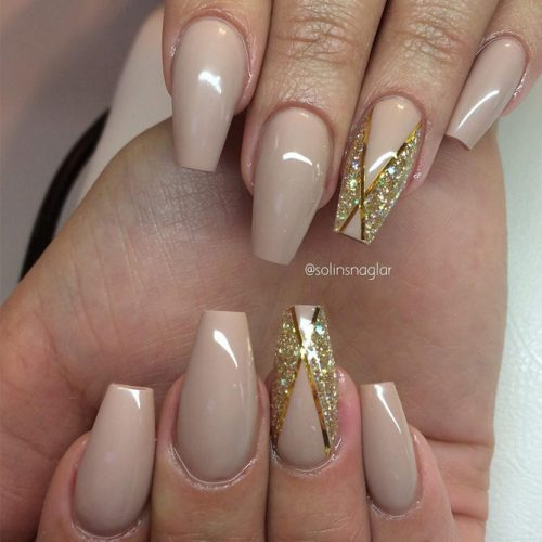 Nude Nail Designs with Glitter picture 2