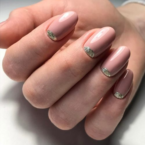 Nude Nail Designs with Glitter picture 3