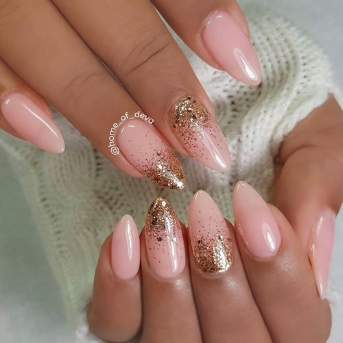 Nude Nail Designs with Gold Glitter Ombre #glitternails #ombrenails