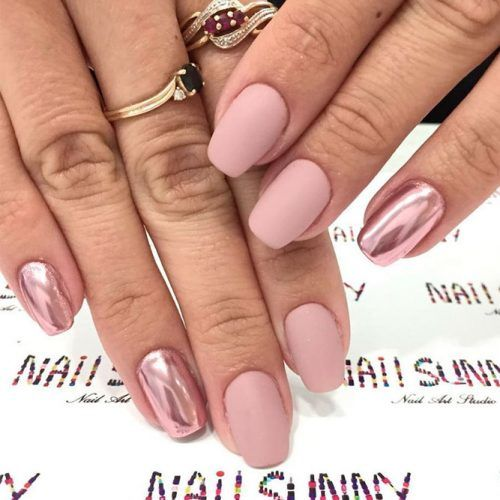 Matte Nude Nails With Chrome Accents #mattenails #chromenails