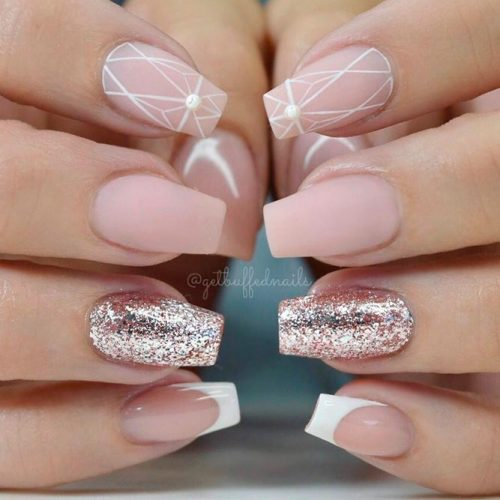 Matte Nude Nails With Geometric Pattern #mattenails #glitternails