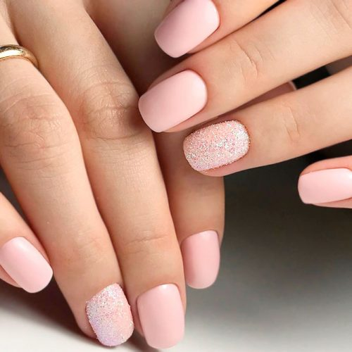 Matte Nude Nail Designs With Sand Accents #shortnails #simplenails