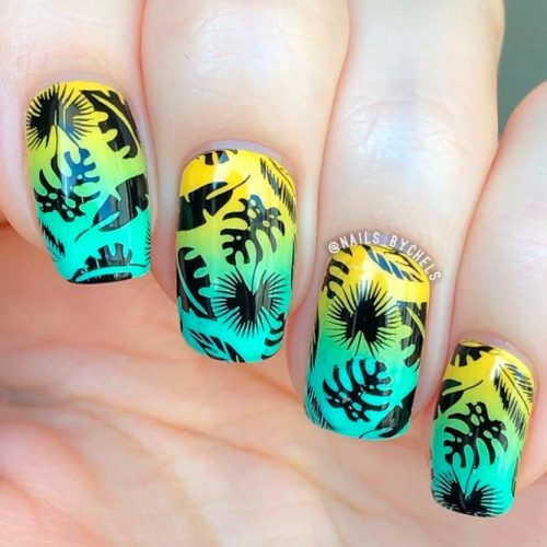 Tropical Gradient Nail Art #ombrenails #stampingnails
