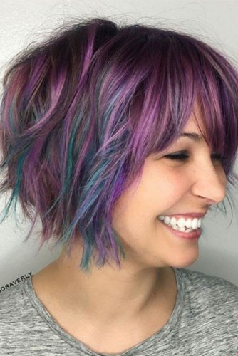 Black Hair with Dark Purple and Blue Highlights