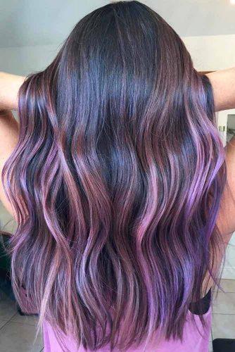 Purple and Dark Brown Balayage