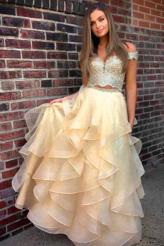 Light Yellow Layered Gown #layereddress #promdress