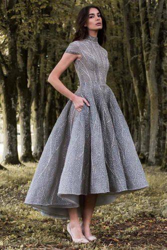 Long Asymmetrical Silver Prom Dress