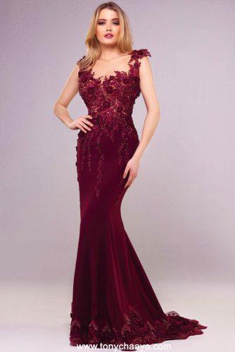 Long Burgundy Floral Dress Design For Prom Day