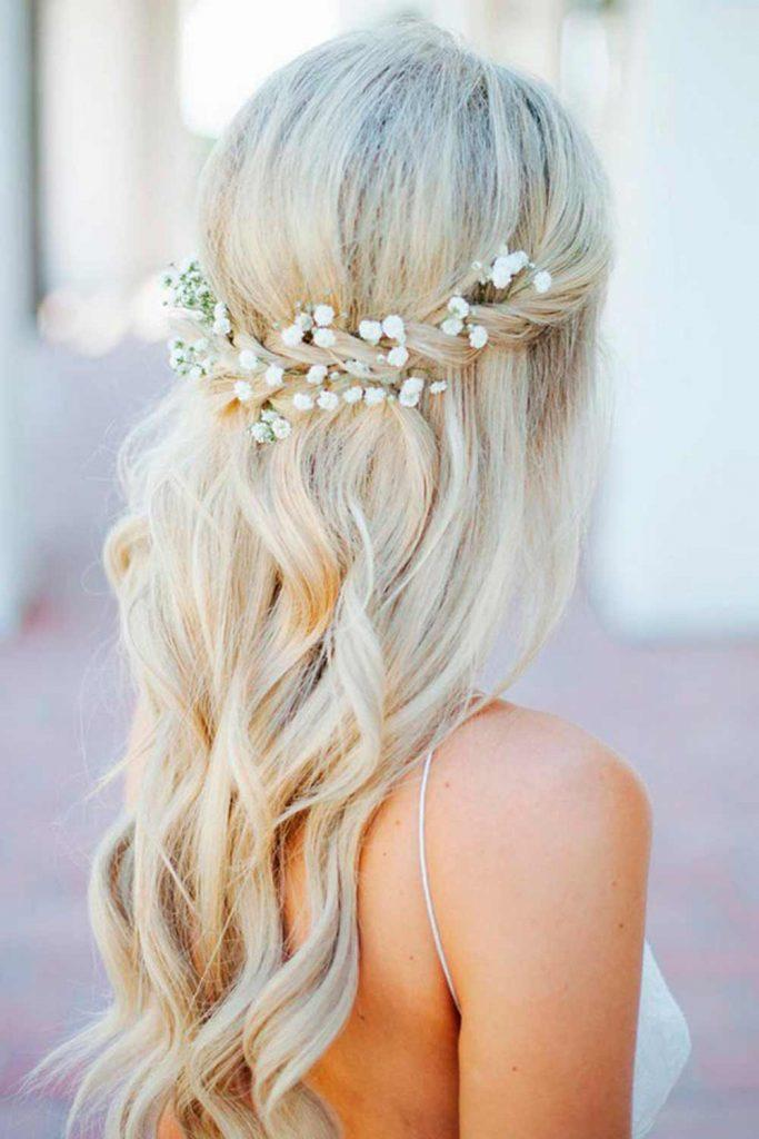Sweet Half-Upd Wedding Hair Style #sweethairstyles #weddinghalfup