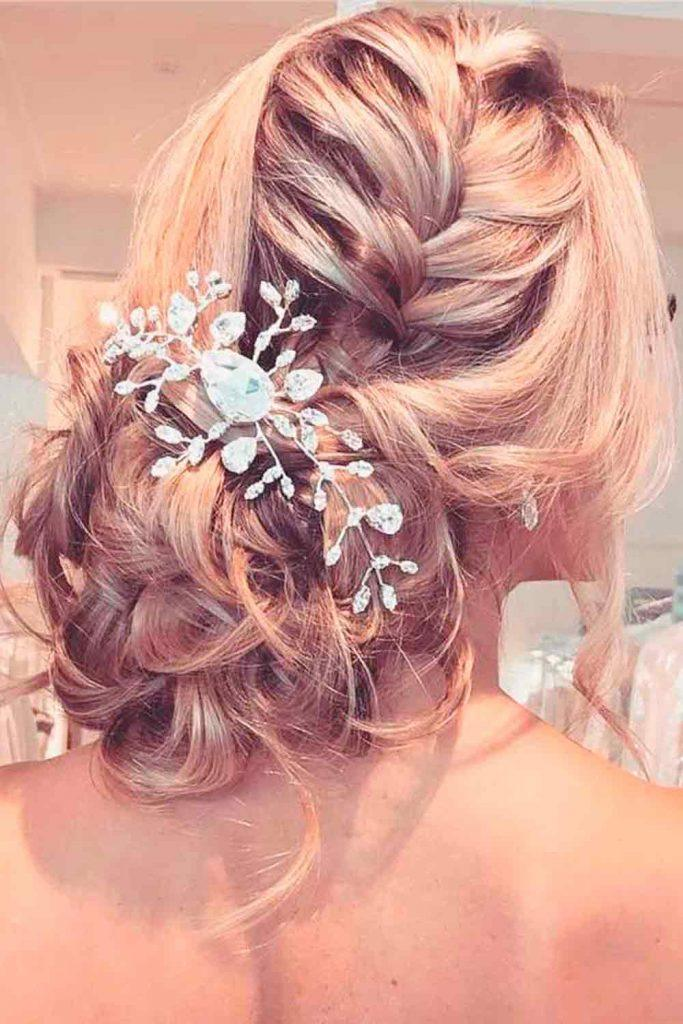 Wedding Updo With Barrette #braidedupdo #formalupdo