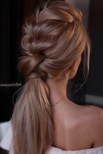 Formal Braided Ponytail #braidedhairstyles #weddingponytail #formalhairstyles