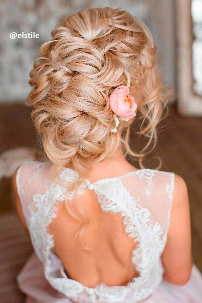 Braided Updo With Flower #braidedhair #updos
