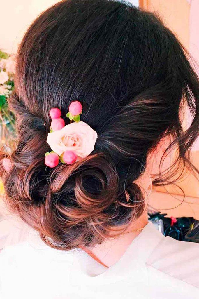 Twisted Updo With Flower #twistedhair #weddingupdo