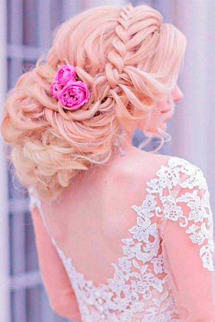 Elegant Uodo With Braids And Flowers #blondehair #wedding