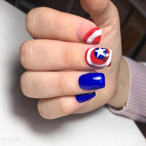 Nails Design With Captain America Art #captainamerica