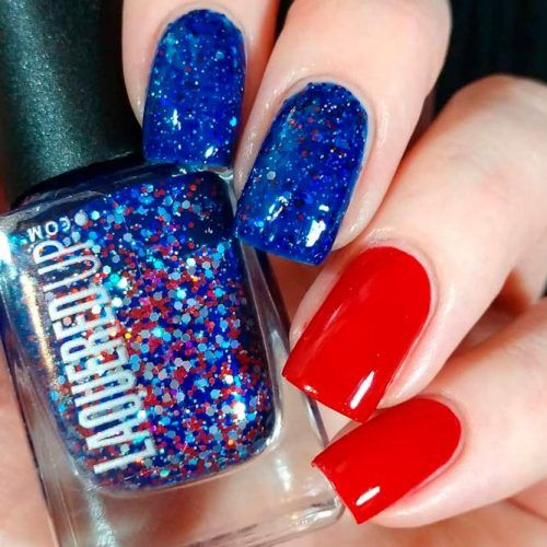 REd And Blue Glitter Nails #glitternails #shortnails