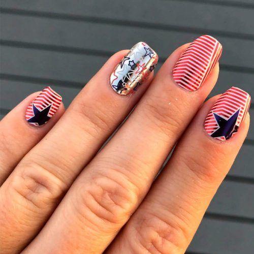 Chorme Stars Nail Design #chromenails #shortnails