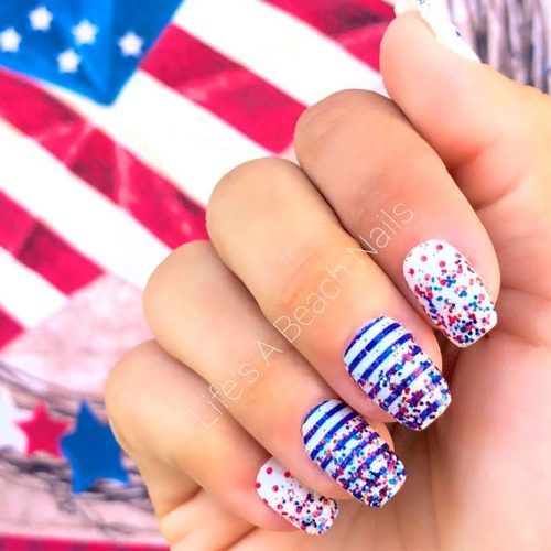 Red And Blue Glitter Nail Art #glitternails #stripednails