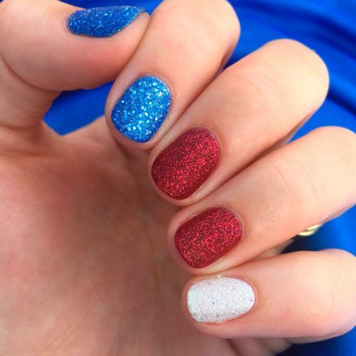 Blue, Red, White Glitter Nails #glitternails #easynailart