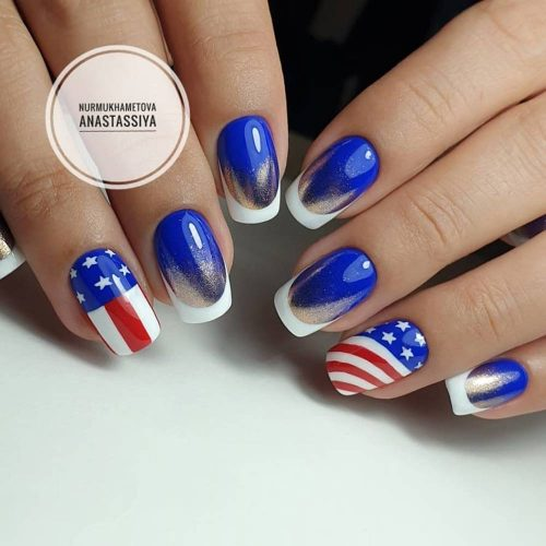 Ombre French Patriotic Nails Design