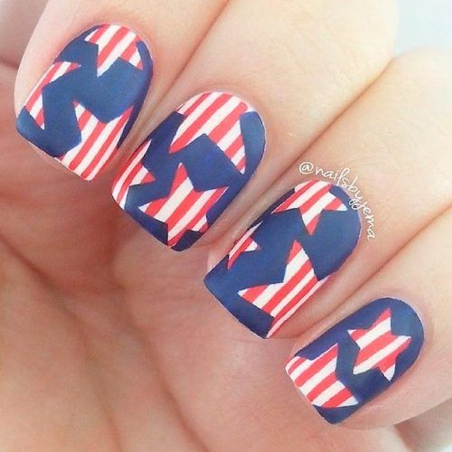 Matte 4th Of July Nail Art #mattenails #shortnails