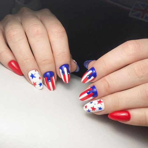 Melted Patriotic Nails Art #meltedart